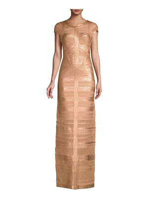 Herve Leger cap sleeve foil & knit column gown
