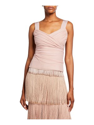 Herve Leger Cellophane Draped Wide-Strap Top