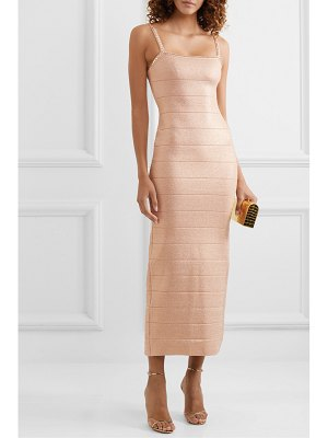Herve Leger crystal-embellished metallic bandage midi dress