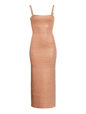 Herve Leger embellished metallic midi dress