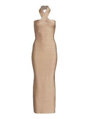 Herve Leger halter midi dress
