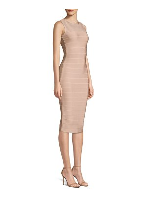 Herve Leger illusion mesh midi dress