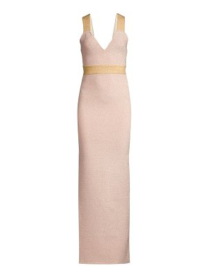 Herve Leger lurex v-neck gown