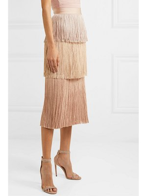 Herve Leger metallic fringed bandage midi skirt