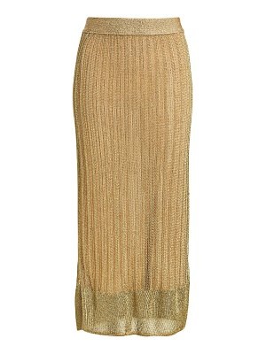 Herve Leger metallic tea-length knit skirt