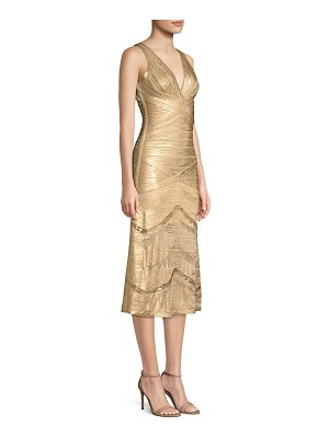 Herve Leger metallic v-neck bandage dress
