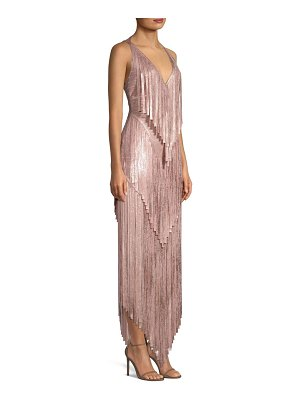 Herve Leger mid-calf foil fringe bodycon dress