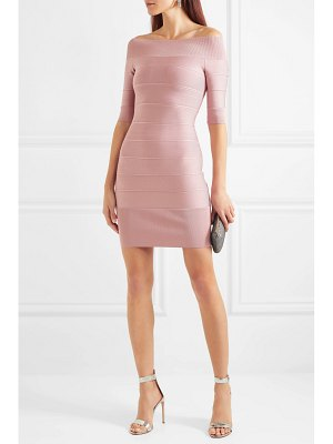 Herve Leger off-the-shoulder bandage mini dress