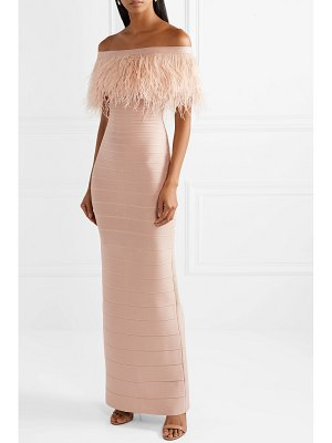 Herve Leger off-the-shoulder feather-trimmed bandage gown