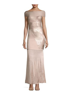 HERVE LEGER Off-The-Shoulder Foil Gown