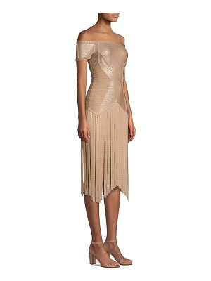 Herve Leger off-the-shoulder fringe dress