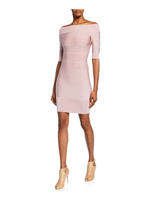 Herve Leger Off-the-Shoulder Icon Ribbed Dress