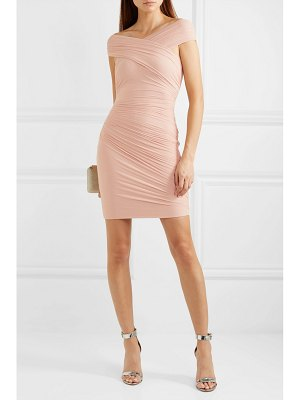 Herve Leger off-the-shoulder wrap-effect ruched tulle and bandage dress