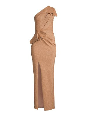 Herve Leger one-shoulder metallic draped gown