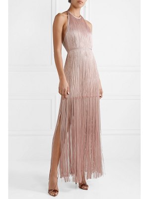 Herve Leger open-back fringed bandage gown