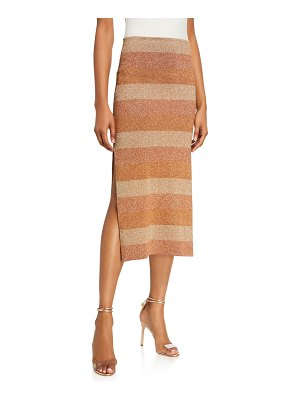 Herve Leger Shimmer-Striped Slit-Hem Skirt