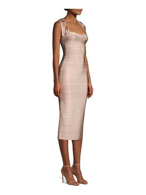 Herve Leger sleeveless beaded trim bandage dress