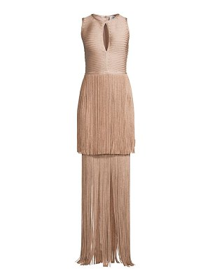 Herve Leger sleeveless tiered fringe keyhole gown