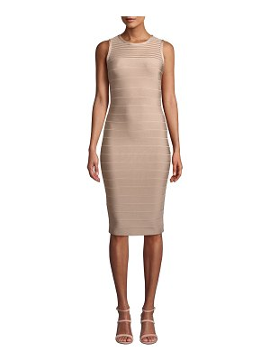 Herve Leger Sleeveless Tulle-Striped Illusion Cocktail Dress