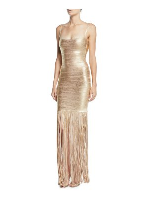 Herve Leger Square-Neck Strappy Foiled Fringe Gown