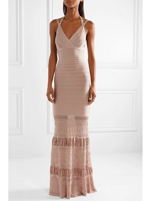 Herve Leger textured knit-paneled bandage gown