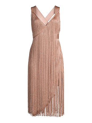 Herve Leger v-neck fringe midi dress