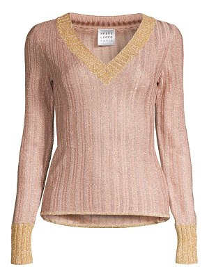 Herve Leger v-neck lurex long-sleeve top