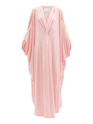 Hester Bly the margot metallic-stripe kaftan maxi dress