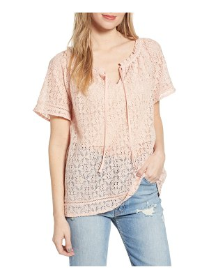 Hinge lace popover blouse