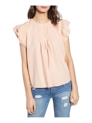 Hinge pleat detail linen blend blouse