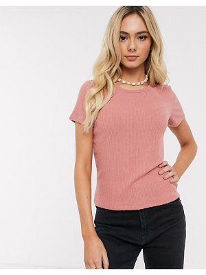 Hollister cozy rib crew neck t-shirt-pink
