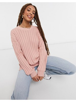 Hollister rib crew neck knitted sweater in pink