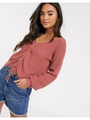 Hollister ruched sweater-pink