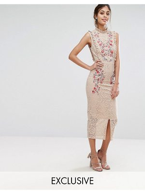 Hope and Ivy Hope & Ivy Embroidered High Neck Midi Dress In Allover Lace