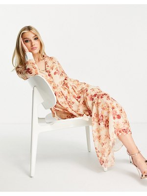 Hope & Ivy maxi dress with wrap tie and drop hem in blush floral-pink