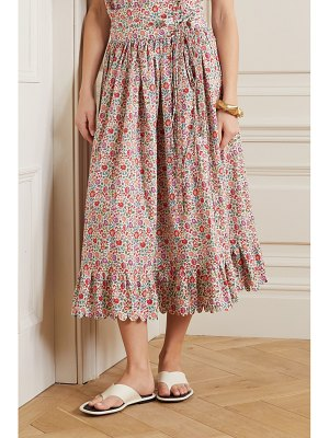 HORROR VACUI agatha scalloped floral-print cotton-poplin midi skirt