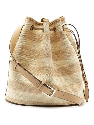 Hunting Season striped fique and leather bucket bag