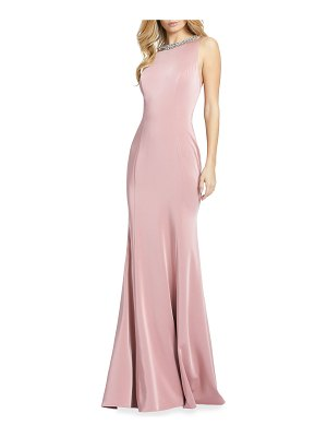 IEENA FOR MAC DUGGAL Beaded Jewel-Neck Sleeveless Gown