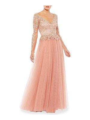 IEENA FOR MAC DUGGAL Long-Sleeve Illusion Embellished Tulle A-Line Gown