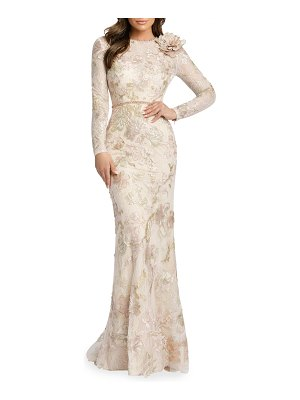 IEENA FOR MAC DUGGAL Long-Sleeve Sequined Lace Gown w/ Flower