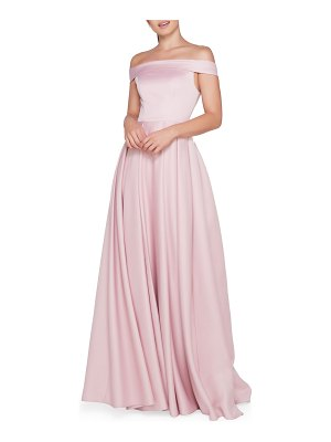 IEENA FOR MAC DUGGAL Off-the-Shoulder Short-Sleeve A-Line Mikado Gown