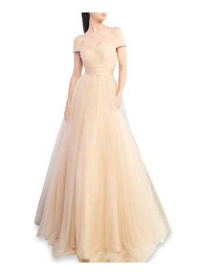 IEENA FOR MAC DUGGAL Off-the-Shoulder Short-Sleeve Tulle A-Line Gown
