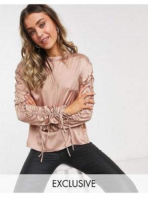 In The Style exclusive satin ruched sleeve top in rose-pink