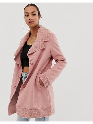 In The Style faux shearling and suede revere collar coat