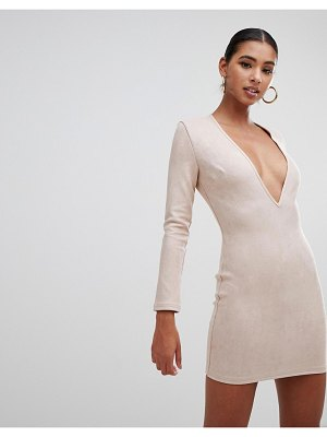In The Style faux suede plunge mini dress