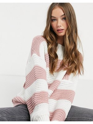 In The Style x billie faiers oversized contrast knitted sweater in pink stripe