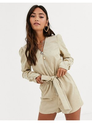 In The Style x dani dyer long sleeve corduroy romper in cream