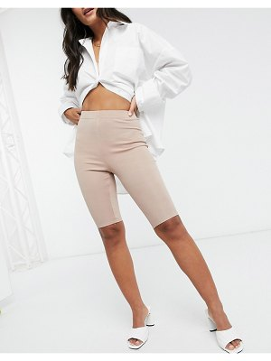 In The Style x demi jones bodycon short in taupe-beige