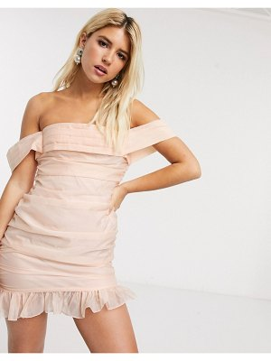 In The Style x fashion influx organza ruched bardot mini dress in soft peach-cream