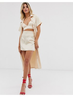 In The Style x fashion influx satin mini skirt in cream